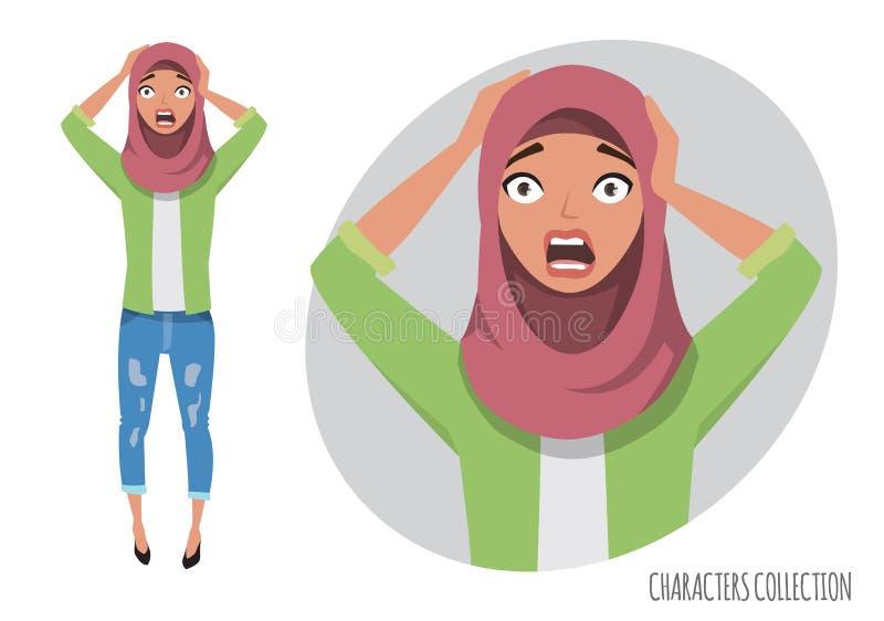 Verraste geschokte oostelijke vrouw Moslim jonge vrouw die hijab dragen stock illustratie