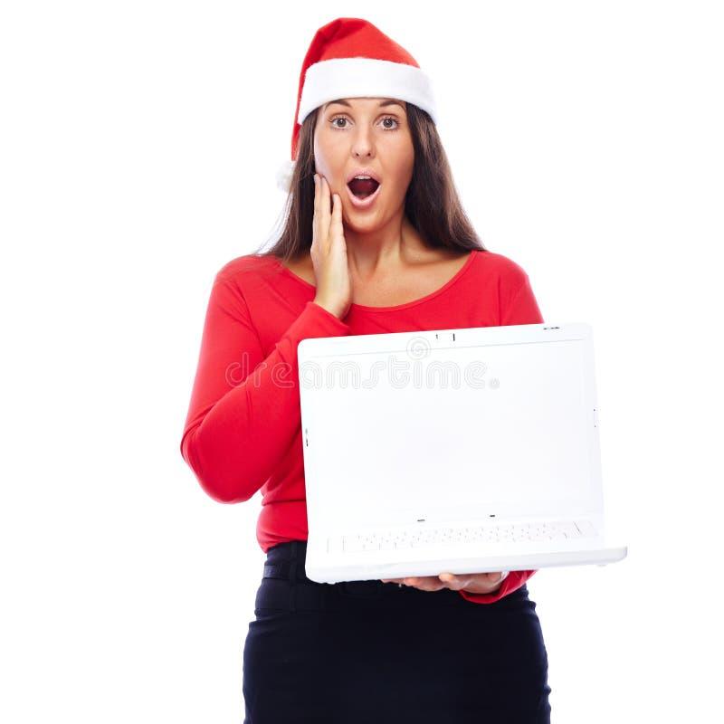 Verraste het meisjeslaptop van de Kerstmiskerstman royalty-vrije stock afbeeldingen