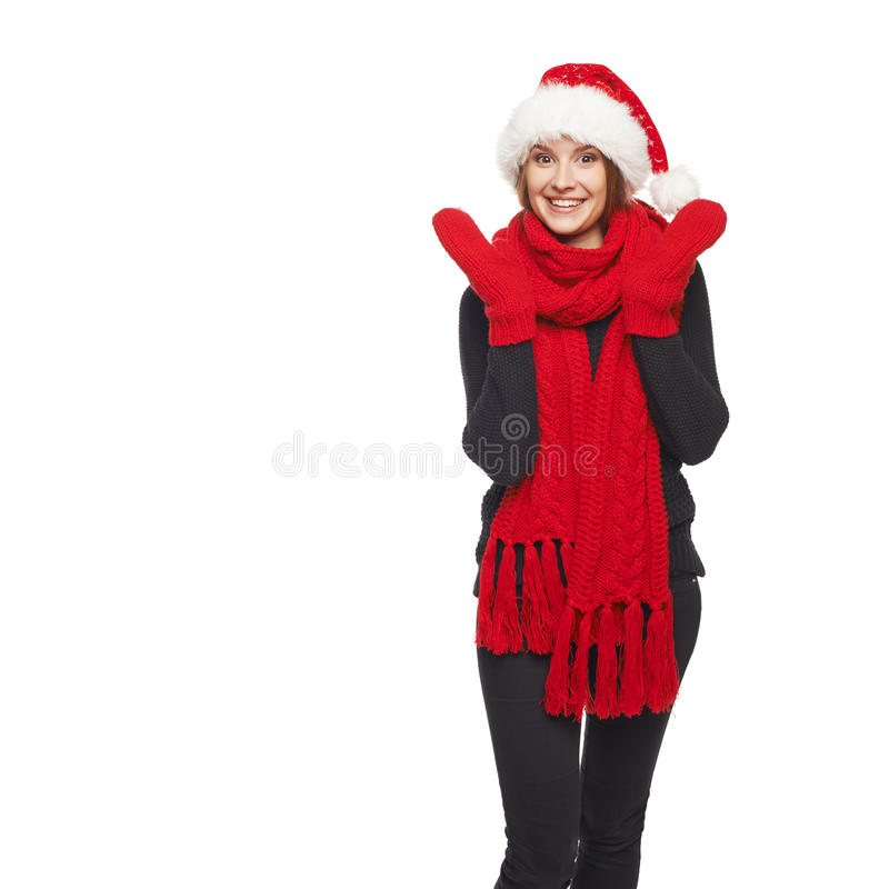 Verraste Kerstmisvrouw royalty-vrije stock afbeelding