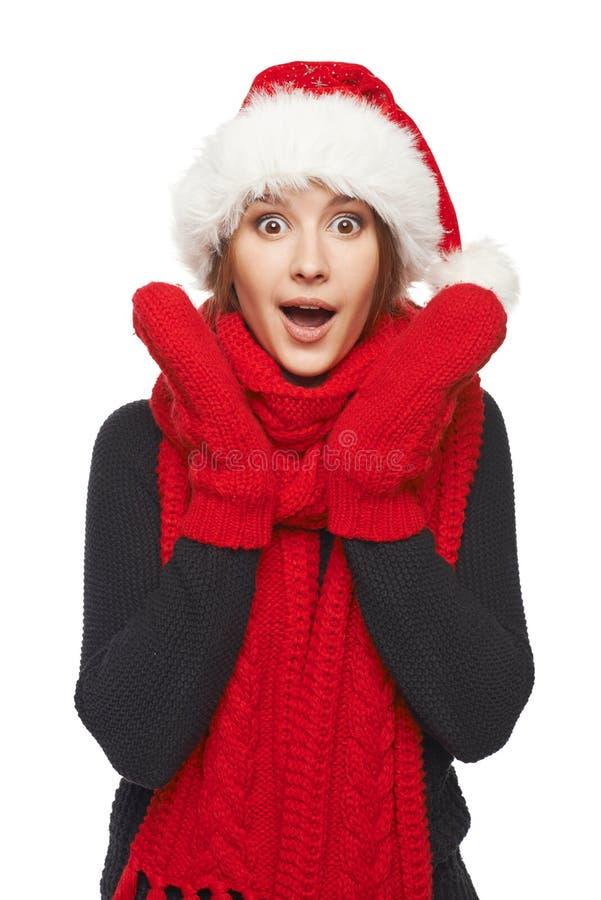 Verraste Kerstmisvrouw stock fotografie