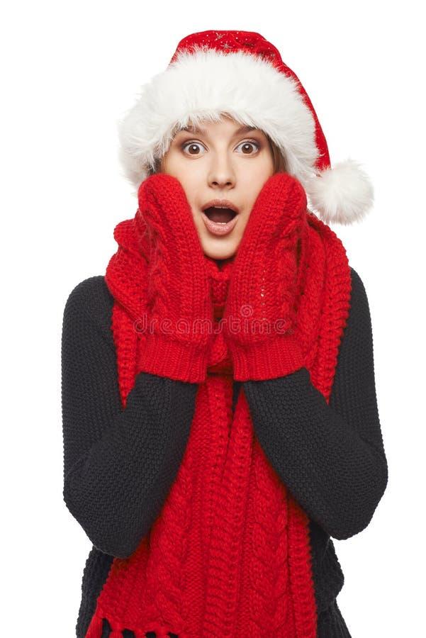 Verraste Kerstmisvrouw stock foto's