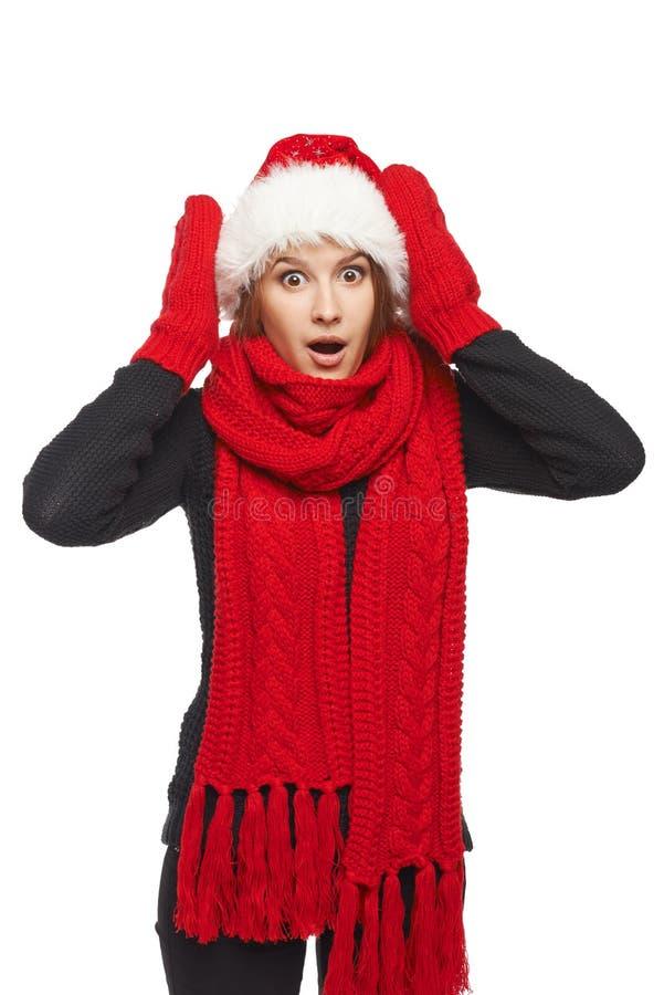 Verraste Kerstmisvrouw stock foto