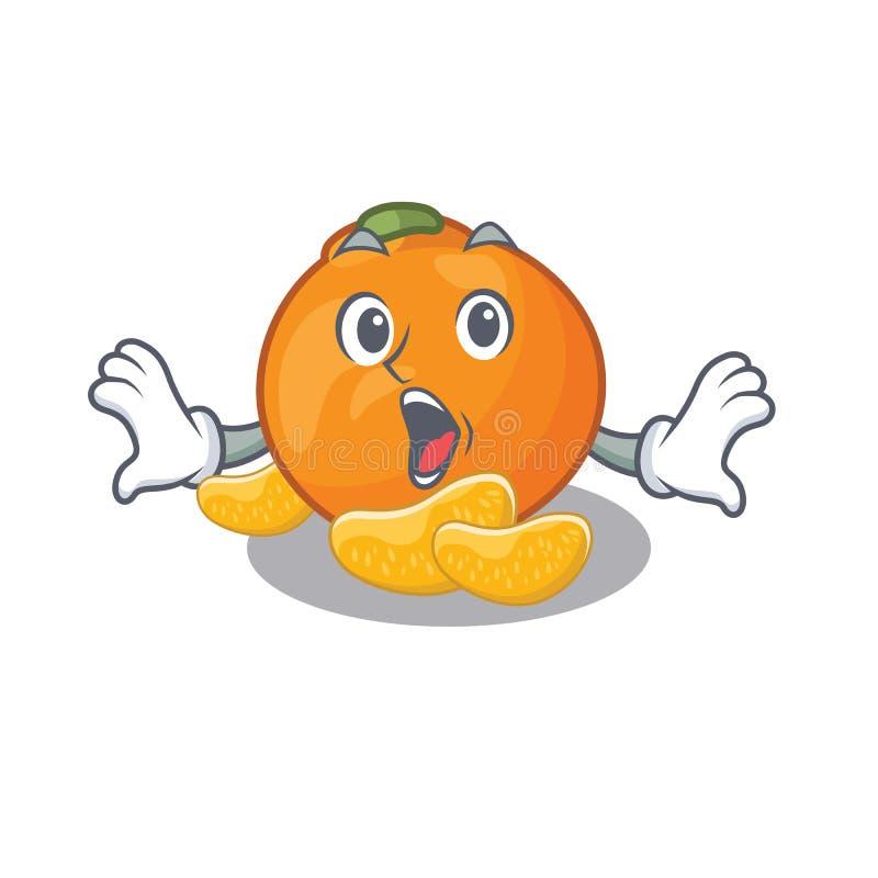 Verraste mandarijn met in de mascottevorm royalty-vrije illustratie