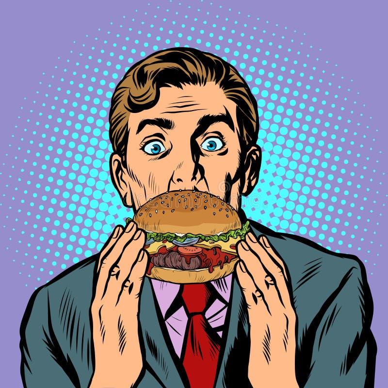 Verraste mens die Hamburger eten vector illustratie