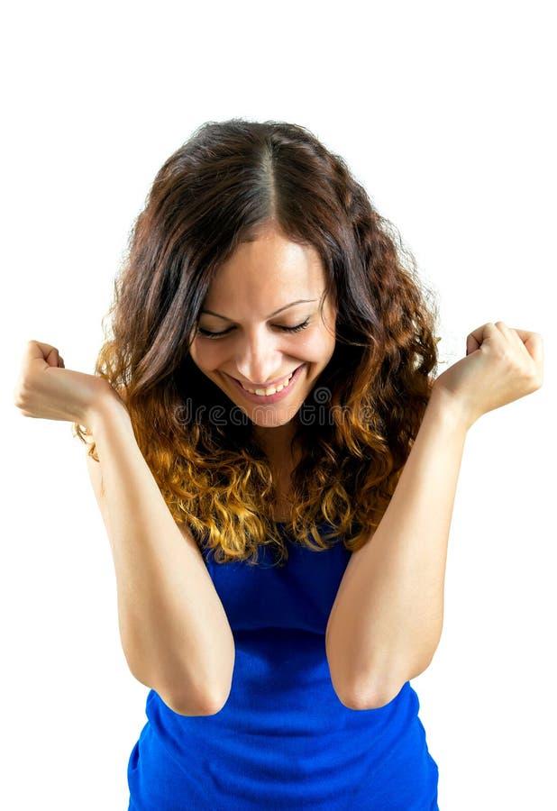 Verraste opgewekte gelukkige gillende geïsoleerde vrouw stock foto's