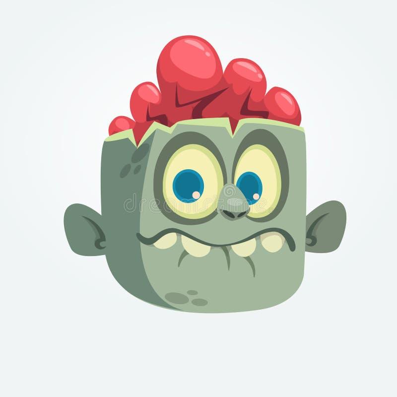 Verraste uitdrukking van de beeldverhaal de grappige grijze zombie hoofd De vectorillustratie van Halloween vector illustratie