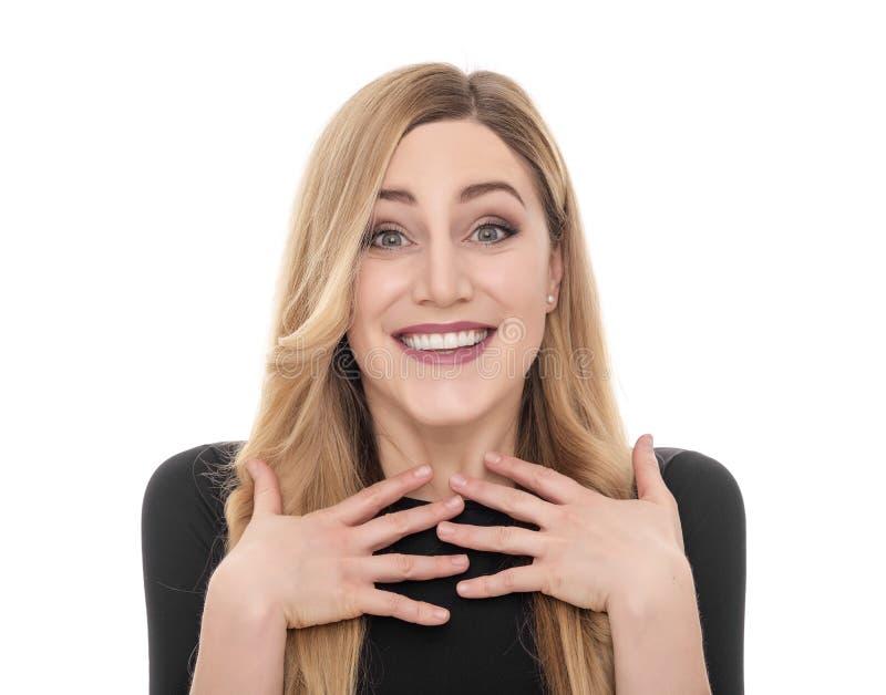 Verraste vrij jonge vrouw royalty-vrije stock foto's