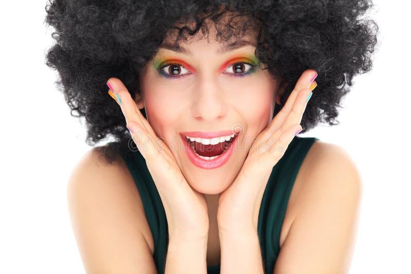 Verraste Vrouw Met Afropruik Royalty-vrije Stock Afbeelding