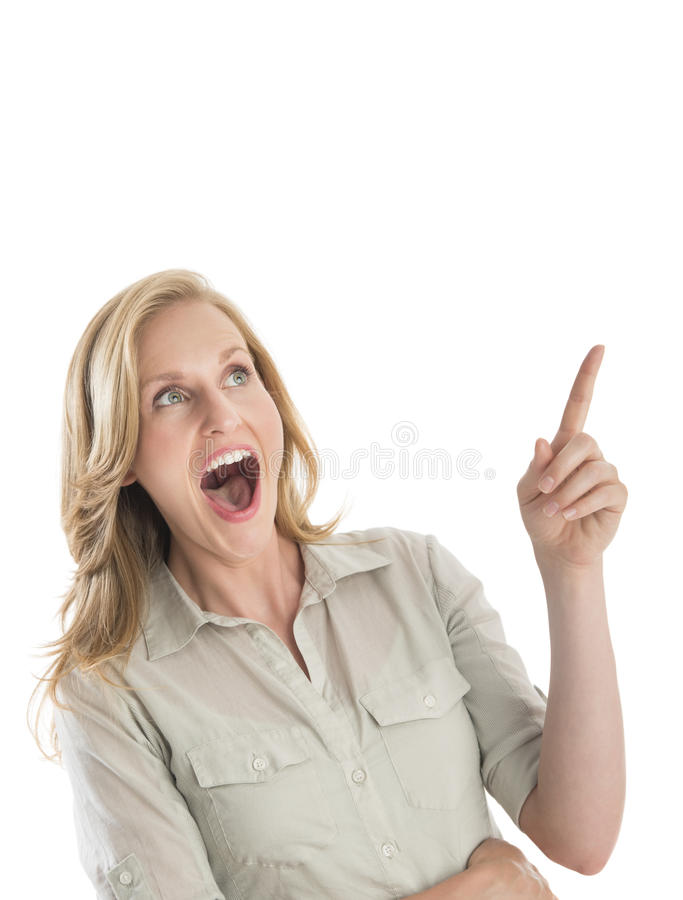 Verraste Vrouw Met Mond Open Gesturing Stock Afbeeldingen