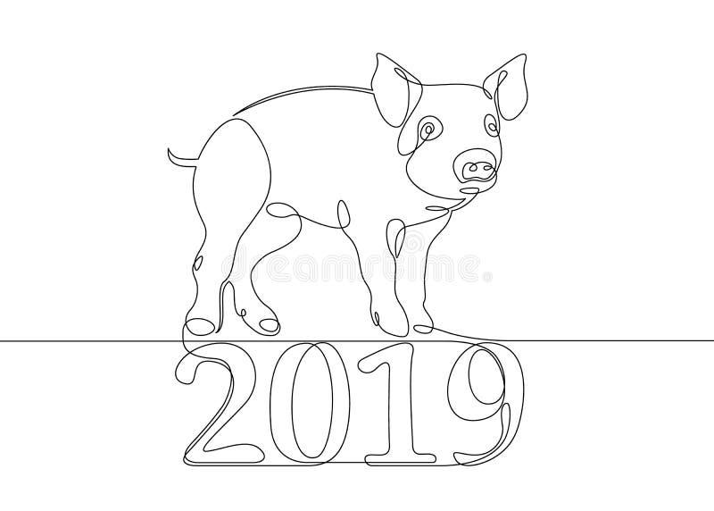 Verrat chinois de porc de calendrier illustration libre de droits