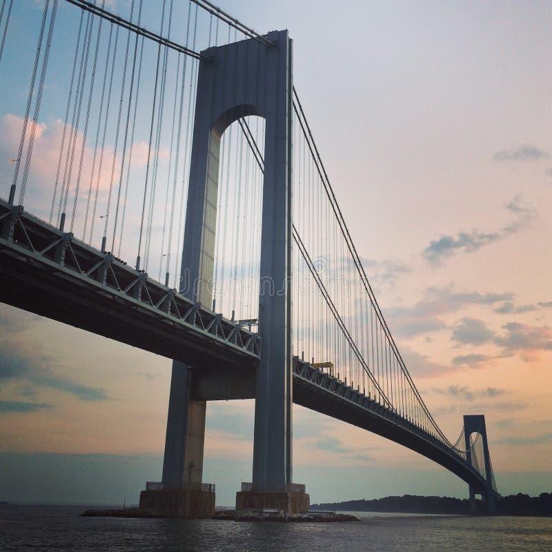 Verrazano mosta półmrok w Nowy Jork zdjęcia royalty free