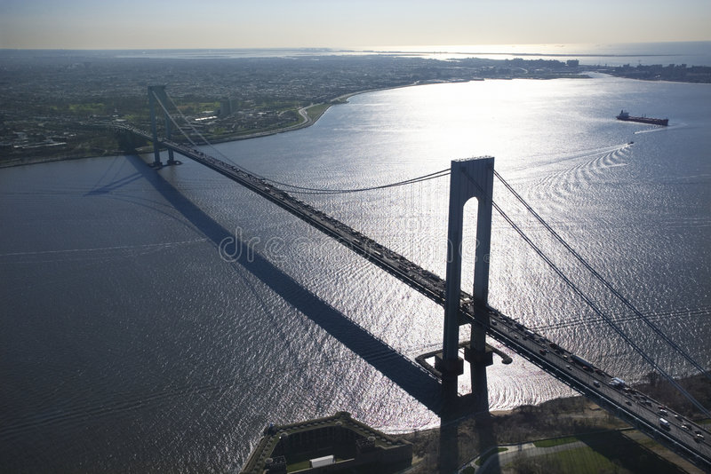 Verrazano-Narrow's Bridge. Aerial view of New York City's Verrazano-Narrow's bridge with ship royalty free stock photos