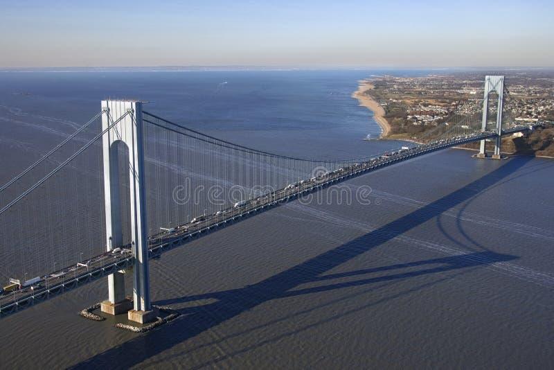 Verrazano-Narrow's Bridge. Aerial view of New York City's Verrazano-Narrow's bridge stock photos