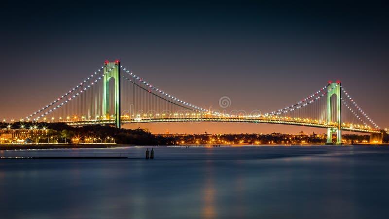 Verrazano-Narrows Bridge at dusk royalty free stock photos