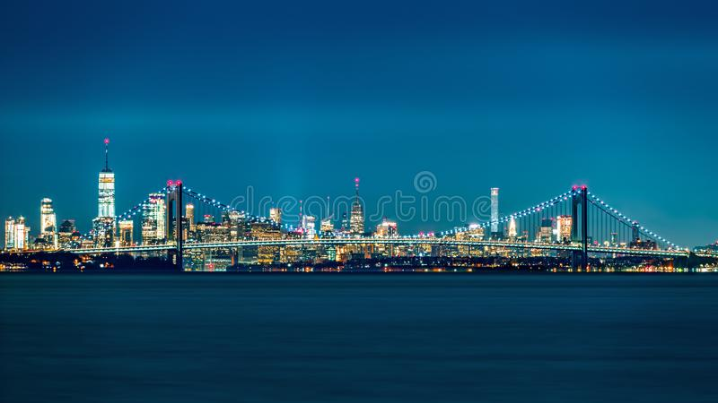 Verrazano Narrows Bridge and Manhattan skyline royalty free stock photo