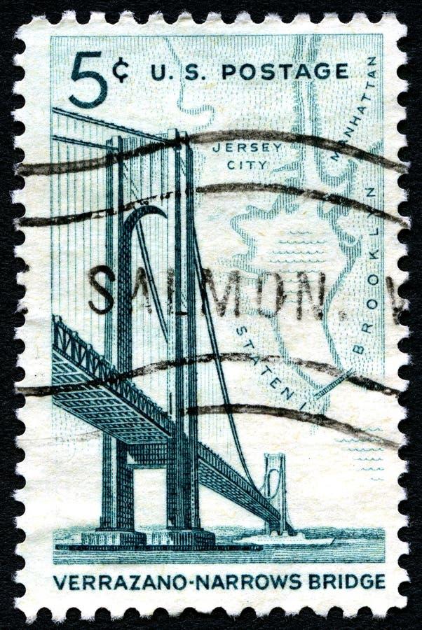 Verrazano versmalt de Postzegel van de Brugv.s. royalty-vrije stock fotografie