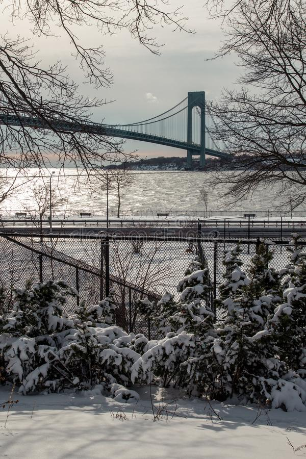 Verrazzano-Narrows bridge in winter with snow royalty free stock image