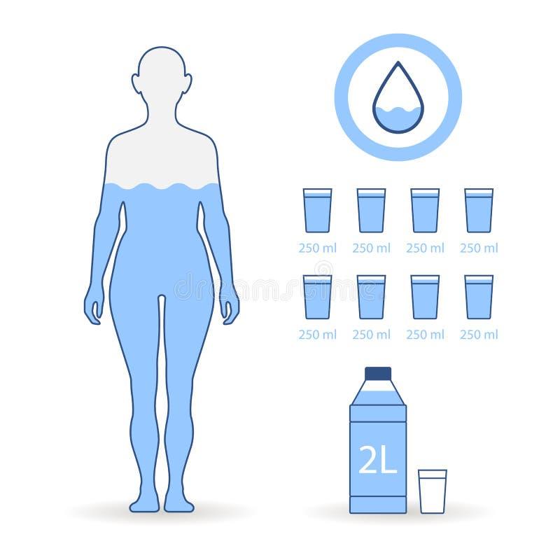 Verre à boire plat de femme d'illustrations d'équilibre d'eau illustration libre de droits
