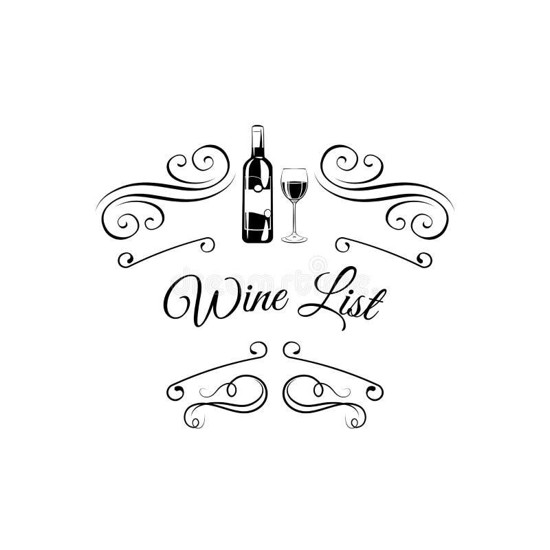 Verre à bouteilles de vin de carte des vins alcool Barre, restaurant, boisson alcoolisée de carte des vins Vecteur illustration stock