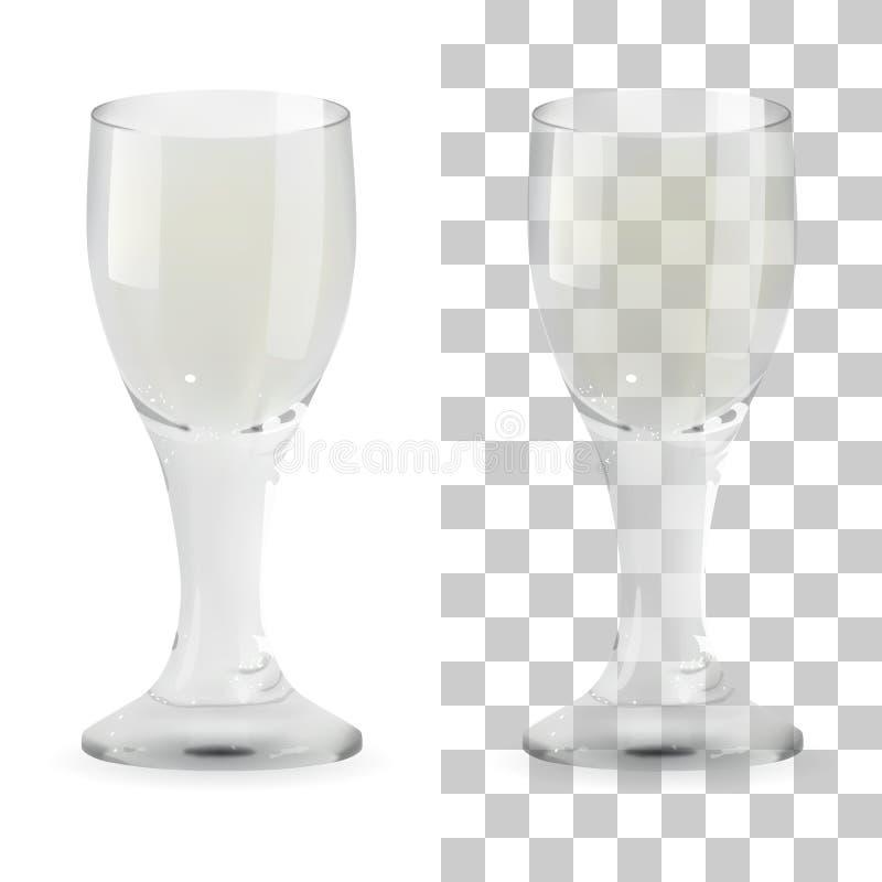 Verre à liqueur transparent de vecteur et d'isolement réaliste de whiskey Illustration en verre d'icône de boissons d'alcool illustration stock