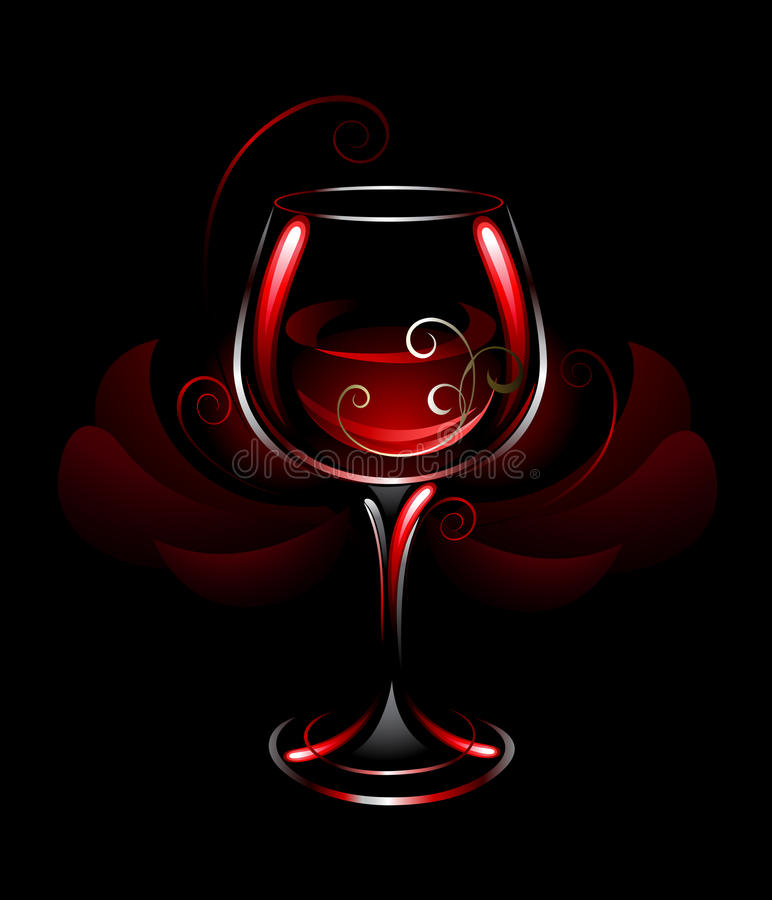 Verre à vin de vin rouge illustration stock