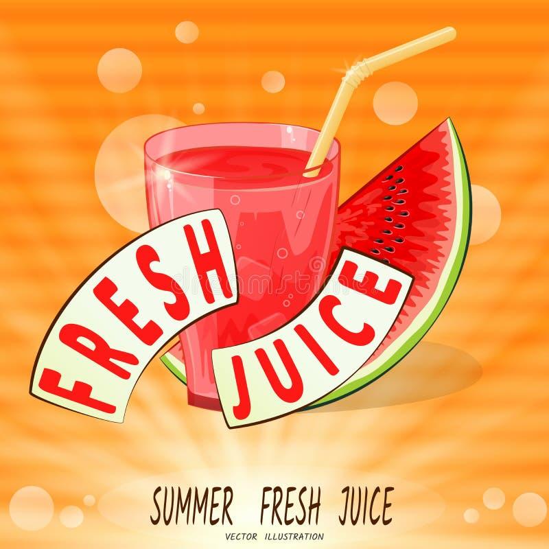 Verre avec du jus et la pastèque rouges dans les rayons, sur le fond orange Jus frais Vecteur illustration libre de droits
