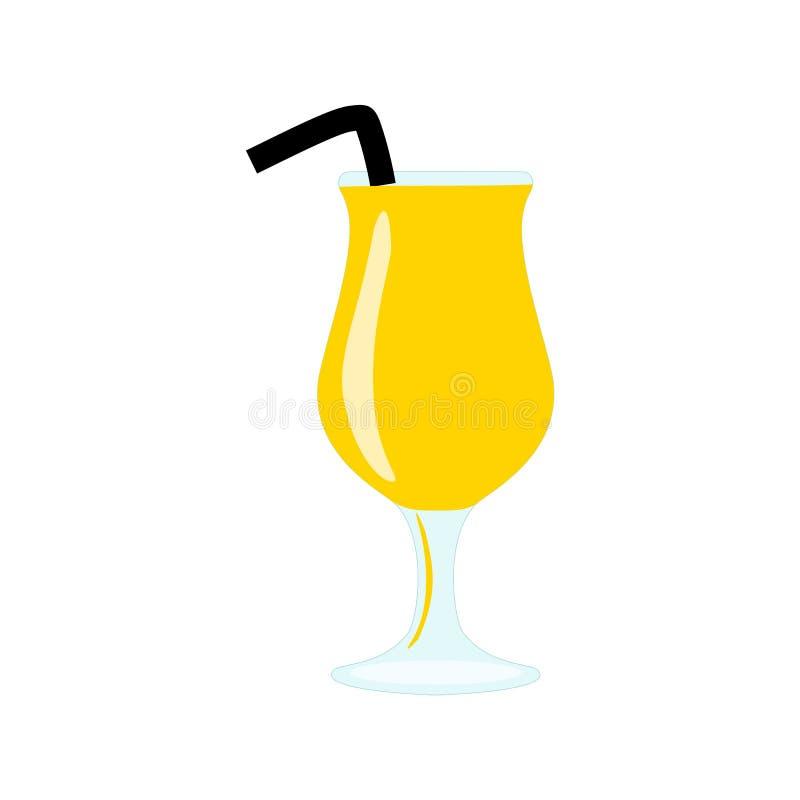 Verre avec le cocktail ou le jus exotique jaune d'alcool avec la paille ou le bendie illustration libre de droits