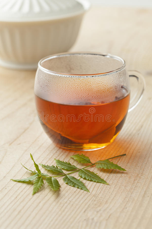 Verre avec le thé de Neem photographie stock
