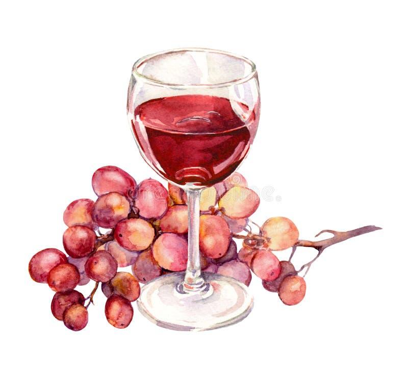 Verre avec le vin rouge, raisin Peinture d'aquarelle illustration de vecteur