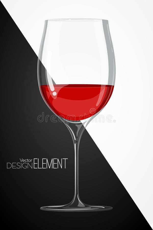 Verre avec le vin rouge sur le fond noir et blanc abstrait Style artsy strict Illustration colorée de vecteur de bande dessinée C illustration de vecteur