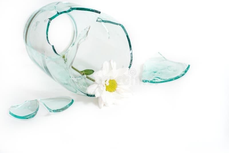 verre cassé, fleur dans un vase cassé Le concept d'amour malheureux, de chagrin et de larmes photo stock