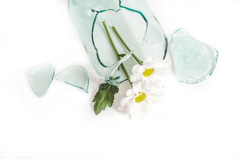 verre cassé, fleur dans un vase cassé Le concept d'amour malheureux, de chagrin et de larmes images libres de droits