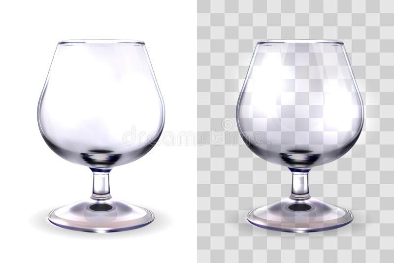 Verre d'eau-de-vie fine transparent illustration de vecteur