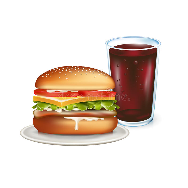 Verre d'hamburger et de kola d'isolement sur le blanc illustration stock