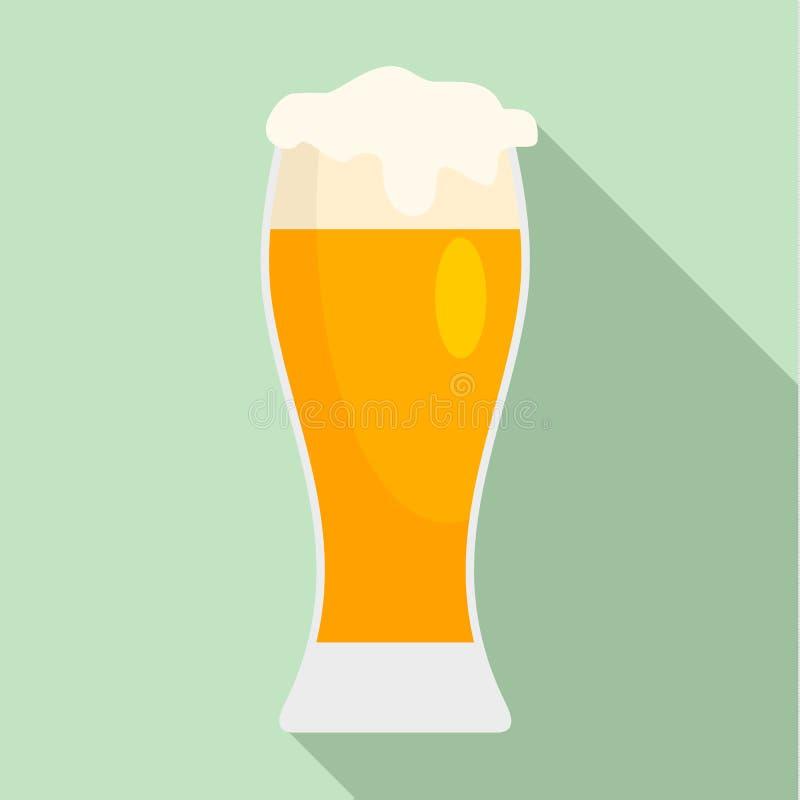 Verre d'icône de bière de bar, style plat illustration de vecteur