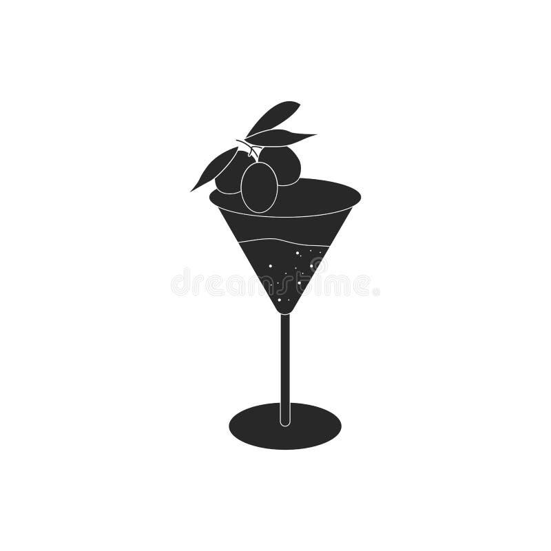 Verre d'isolement de Martini avec l'icône olive illustration de vecteur
