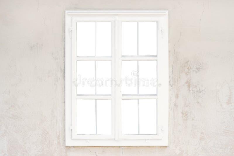 Verre d'isolement, intérieur du châssis de fenêtre sur le vieux mur rustique images libres de droits
