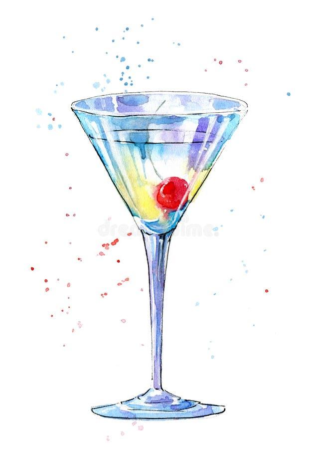 Verre d'un Martini avec la cerise Photo d'une boisson alcoolisée illustration libre de droits