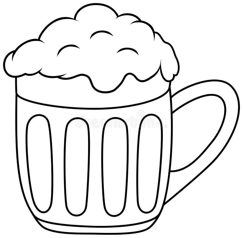 Verre de bande dessinée de bière Illustration d'ensemble de vecteur Livre de coloration illustration libre de droits