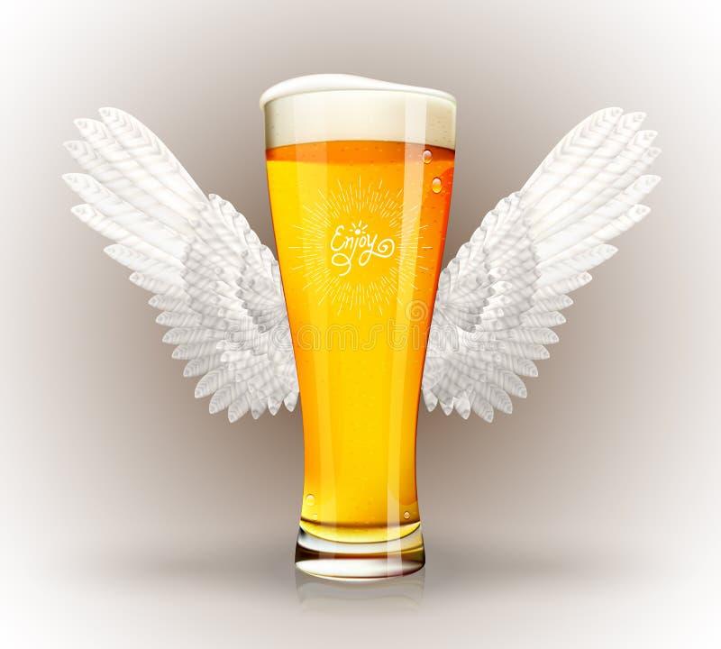 Verre de bière avec des ailes d'ange illustration de vecteur
