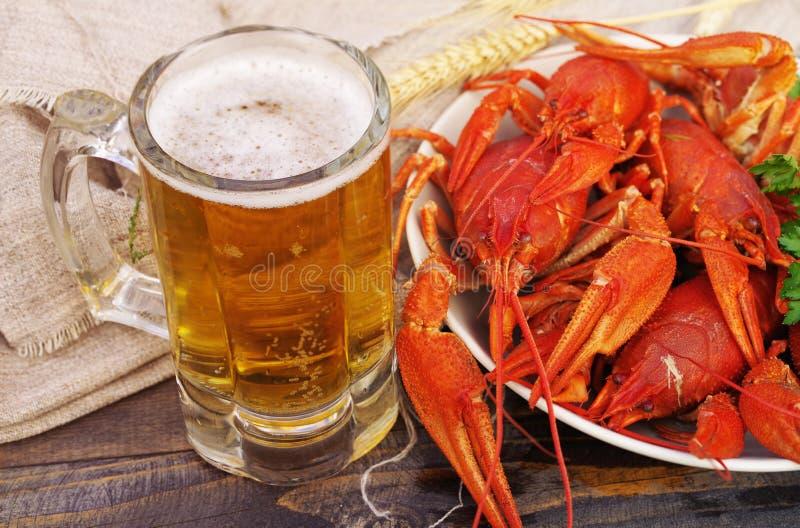 Verre de bière et crawfishes bouillis dans un plat images stock
