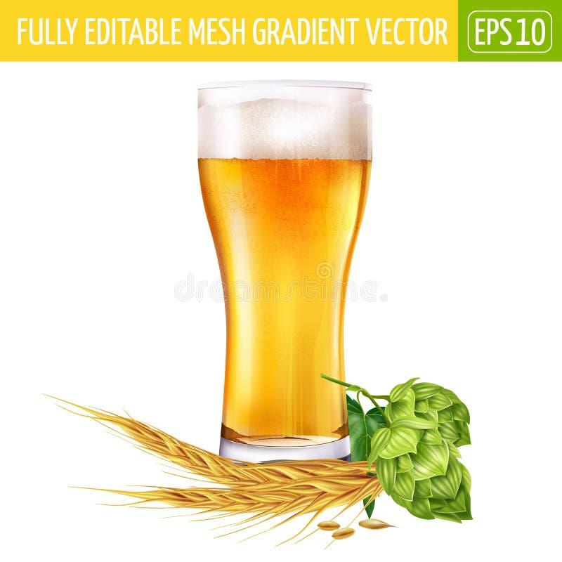 Verre de bière et d'houblon sur le fond blanc Illustration de vecteur illustration de vecteur