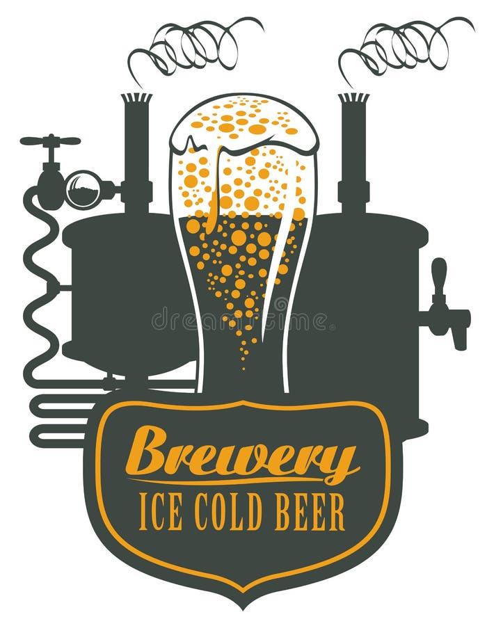 Verre de bière et de machine de brassage illustration stock
