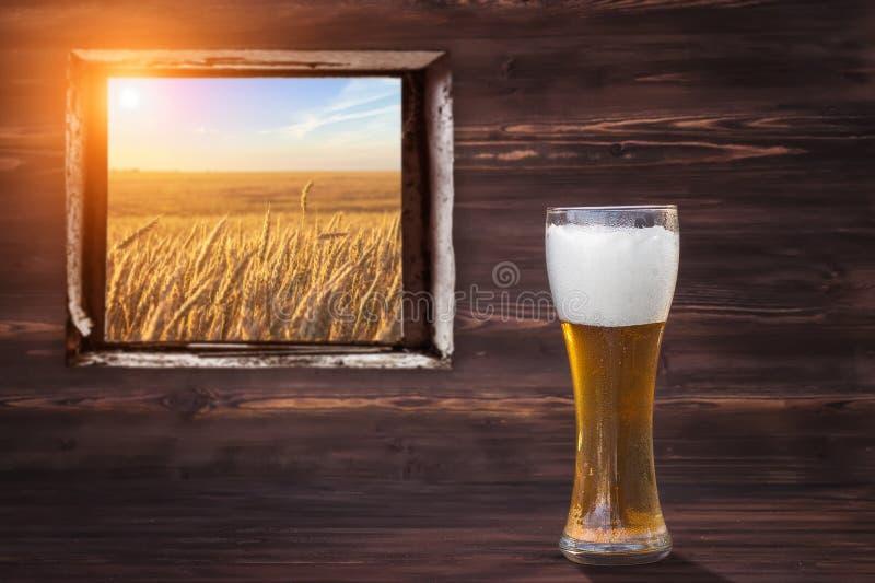 Verre de bière froide sur un fond en bois brun Vue au champ de blé photos libres de droits