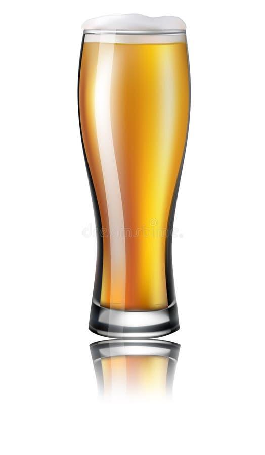 Verre de bière lager D'isolement sur le fond blanc Illus de vecteur illustration stock