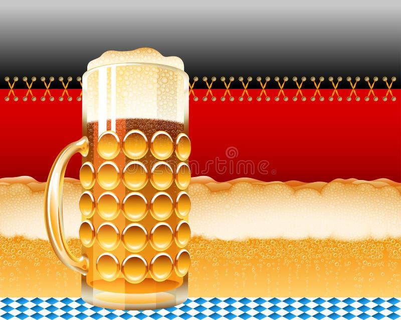 Verre de bière Lager Foam Oktoberfest Holiday Flag Allemagne Backgroun illustration libre de droits