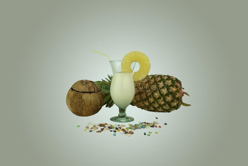 Verre de boisson de noix de coco avec une tranche d'ananas photos stock