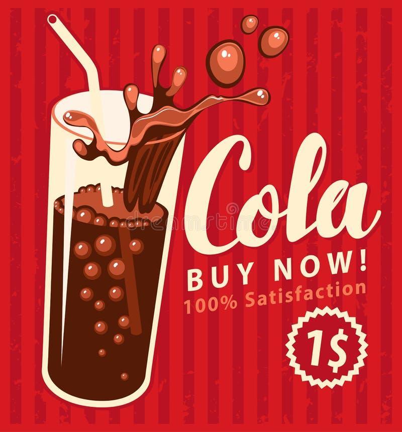 Verre de boissons de kola dans le rétro style illustration libre de droits