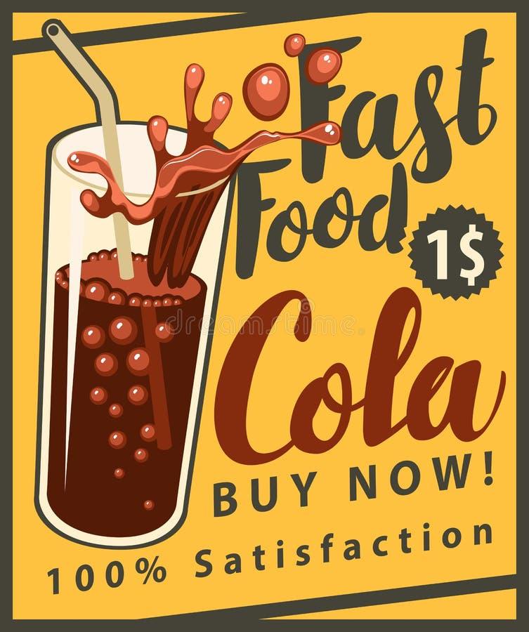 Verre de boissons de kola dans le rétro style illustration stock