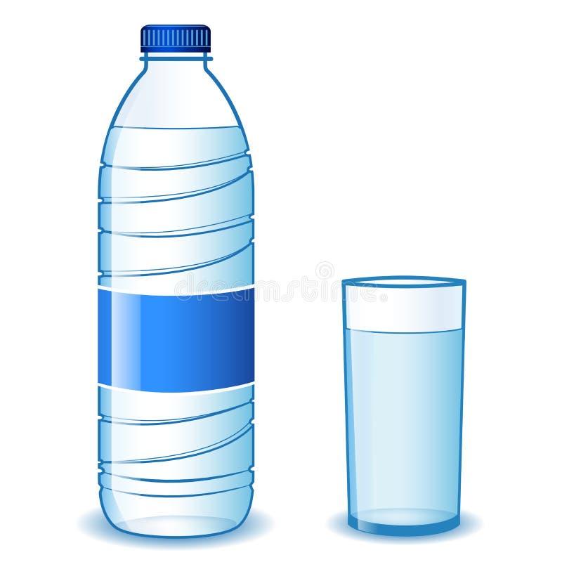 Verre de bouteille et d'eau illustration libre de droits